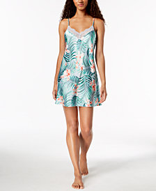 Thalia Sodi Tropical-Print Sheer Lace Chemise, Created for Macy's