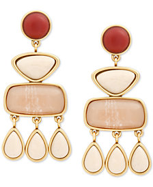 Lucky Brand Gold-Tone Multi-Stone Statement Earrings