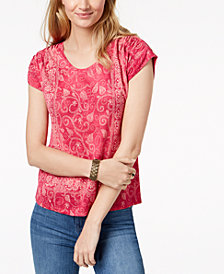 Lucky Brand Printed Cap Sleeve Top