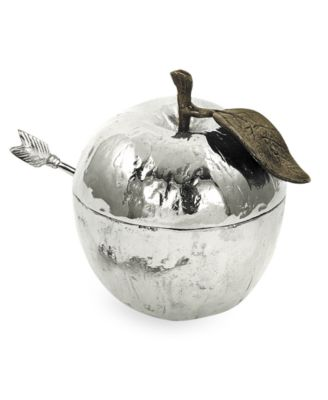 Nickel Plated Apple Honey Pot