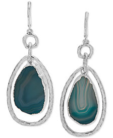 lonna & lilly Silver-Tone Stone Orbital Drop Earrings