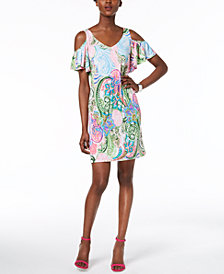 MSK Petite Paisley-Print Cold-Shoulder Dress