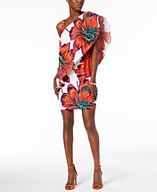 MSK Floral-Print One-Shoulder Dress