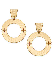 "I.N.C. Medium 1.8"" Gold-Tone Drop Hoop Earrings, Created for Macy's"