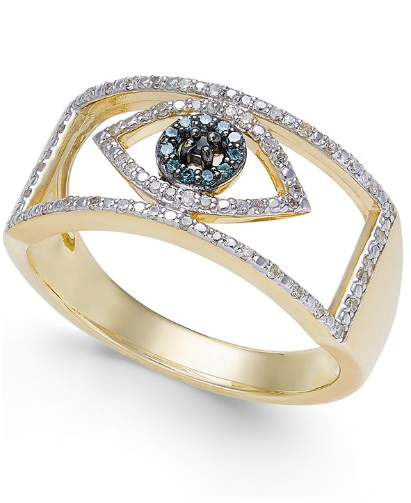 Wrapped Diamond Evil Eye Ring (1/6 ct. t.w.) in 10k Gold or 10k White Gold Created for Macy's