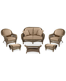 Sandy Cove Outdoor Wicker 6-Pc. Seating Set (1 Loveseat, 2 Club Chairs, 2 Ottomans and 1 Coffee Table) Custom Sunbrella®, Created for Macy's