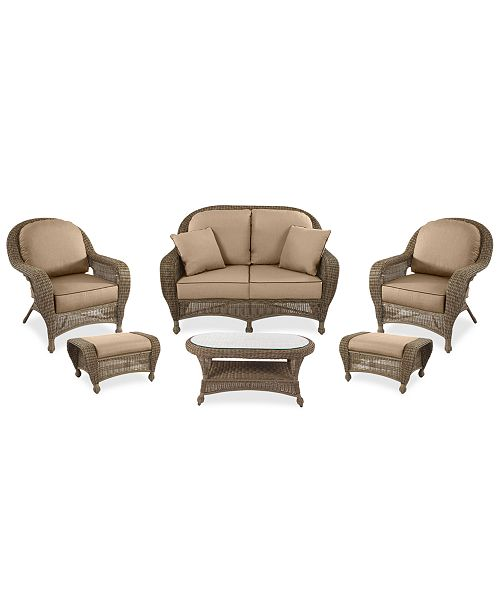 Furniture Sandy Cove Outdoor Wicker 6-Pc. Seating Set (1 Loveseat, 2 Club Chairs, 2 Ottomans and 1 Coffee Table) Custom Sunbrella®, Created for Macy's