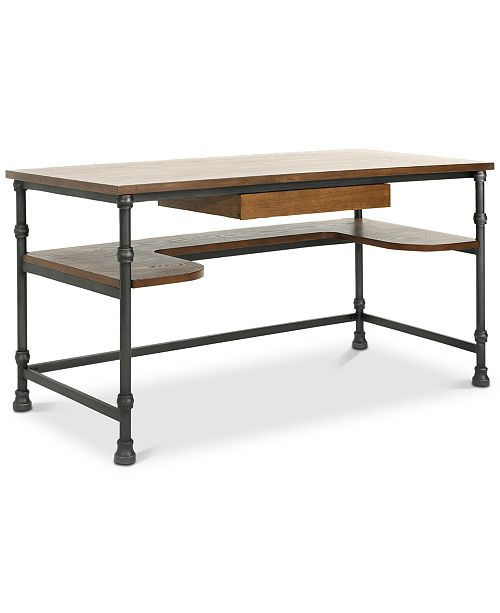 Furniture Jackson Industrial Faux Ash Wood Overlay Desk, Quick Ship