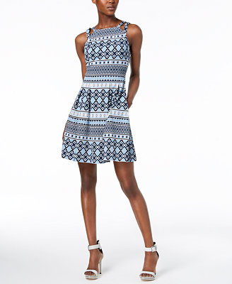 Printed Fit & Flare Pocket Dress by Vince Camuto