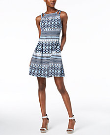 Vince Camuto Printed Fit & Flare Pocket Dress