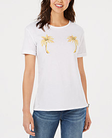 Carbon Copy Embroidered Palm-Tree T-Shirt