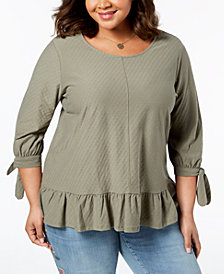Style & Co Plus Size Jacquard Tie-Sleeve Swing-Hem Top, Created for Macy's