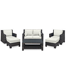 Viewport Outdoor Wicker 6-Pc. Seating Set (1 Loveseat, 1 Club Chair, 1 Swivel Glider, 2 Ottomans & 1 Coffee Table) with Custom Sunbrella® Colors, Created for Macy's