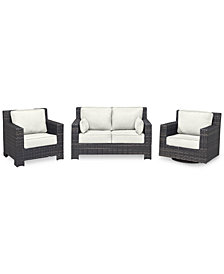 Viewport Outdoor Wicker 3-Pc. Seating Set (1 Loveseat, 1 Club Chair & 1 Swivel Glider) with Custom Sunbrella® Colors, Created for Macy's