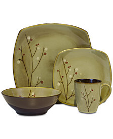 Sango Blooming Blossoms Brown 16-Pc. Dinnerware Set