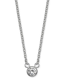 "Giani Bernini Cubic Zirconia Bezel Pendant Necklace, 16"" + 2"" extender, Created for Macy's"