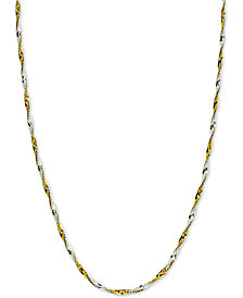 "Giani Bernini Twisted 18"" Chain Necklace in Sterling Silver & 18k Gold-Plate, Created for Macy's"