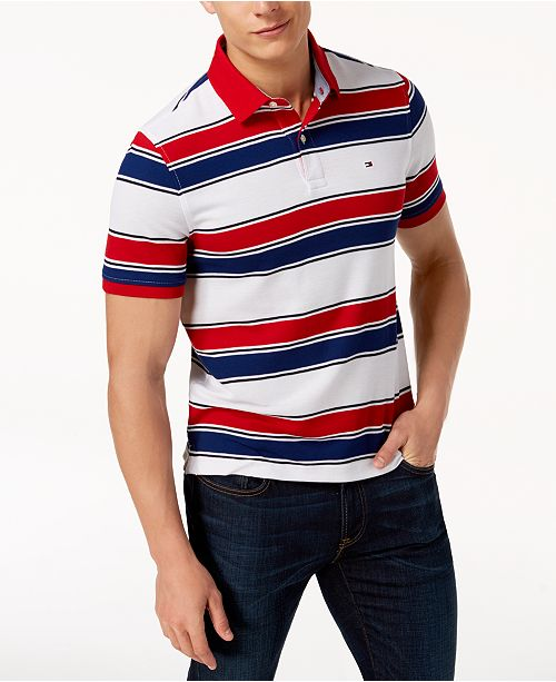 a913bbdc Tommy Hilfiger Men's Ricky Striped Slim Fit Polo; Tommy Hilfiger Men's  Ricky Striped Slim Fit ...