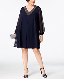 Betsy & Adam Plus Size Beaded V-Neck Shift Dress