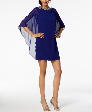 Xscape Embellished Chiffon-Overlay Dress, Regular & Petite