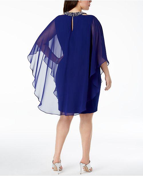 Xscape Plus Size Embellished Cape Overlay Dress Dresses Women