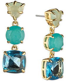 Carolee Gold-Tone Stone Triple Drop Earrings
