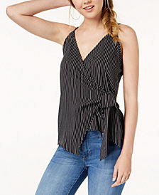Polly & Esther Juniors' Striped Side-Tie Wrap Top