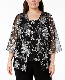 Alex Evenings Plus Size Printed Jacket & Top