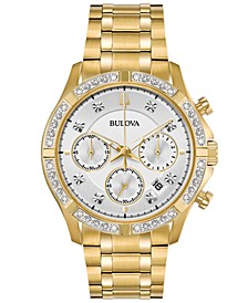 Men's Chronograph Diamond-Accent Gold-Tone Stainless Steel Bracelet Watch 42mm, Created for Macy's