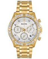 a7aa2dd10d0 Bulova Men s Chronograph Diamond-Accent Gold-Tone Stainless Steel Bracelet  Watch 42mm