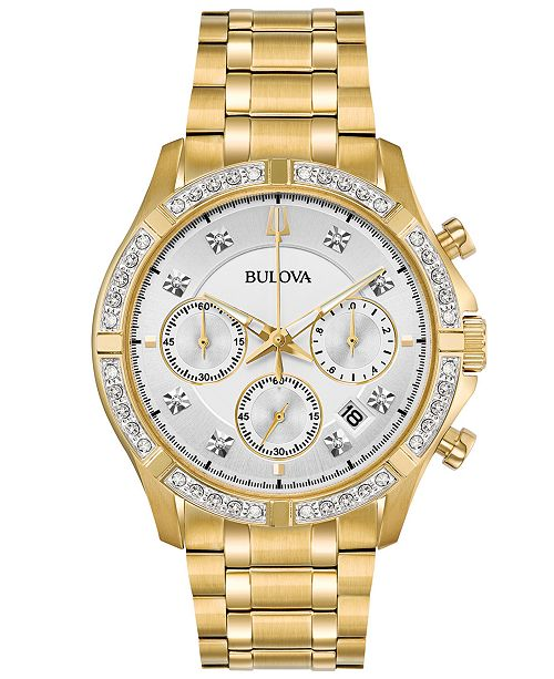 Bulova Men's Chronograph Diamond-Accent Gold-Tone Stainless Steel Bracelet Watch 42mm, Created for Macy's