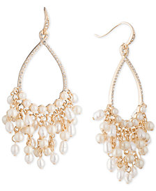 Carolee Gold-Tone Crystal & Imitation Pearl Drop Hoop Earrings