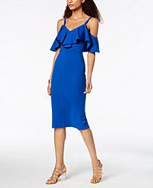 RACHEL Rachel Roy Ruffled Cold-Shoulder Midi Dress