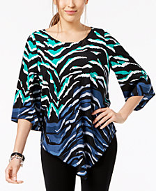 Alfani V-Hem Geometric-Print Top, Created for Macy's