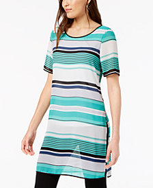 Alfani Striped Short-Sleeve Tunic, Created for Macy's