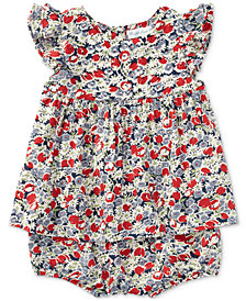 Ralph Lauren Floral Flutter-Sleeve Top & Bloomer Set, Baby Girls