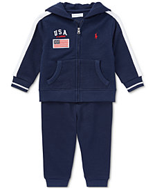 Ralph Lauren Cotton Hoodie \u0026 Pull-On Pants Set, Baby Boys