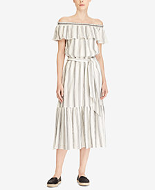 Lauren Ralph Lauren Petite Striped Off-The-Shoulder Cotton Dress