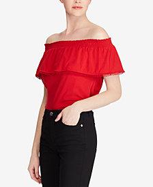 Lauren Ralph Lauren Petite Off-The-Shoulder Cotton Top