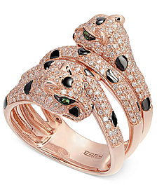 EFFY® Diamond (1 ct. t.w.) and Tsavorite Accent Panther Ring in 14k Rose Gold