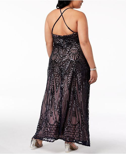 Morgan & Company Trendy Plus Size Sequin-Patterned Backless Gown ...