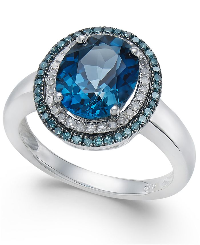 Macy's - London Blue Topaz (2-3/4 ct. t.w.), Blue and White Diamond (1/3 ct. t.w.) Oval Ring in 14k White Gold
