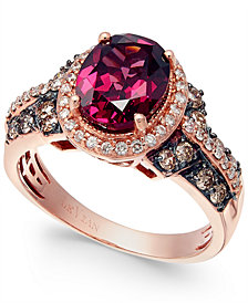 Le Vian® Raspberry Rhodolite® Garnet, Chocolate and White Diamond Oval Ring (2-3/4 ct. t.w.) in 14k Strawberry Rose Gold