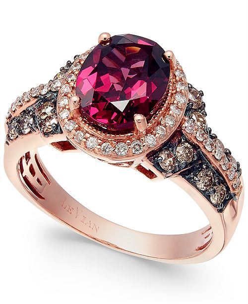 Le Vian Raspberry Rhodolite® Garnet, Chocolate and White Diamond Oval Ring (2-3/4 ct. t.w.) in 14k Strawberry Rose Gold