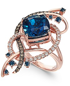 Exotics® Deep Sea Blue Topaz™ (5-3/8 ct. t.w.) and Diamond (3/4 ct. t.w.) Ring in 14k Rose Gold
