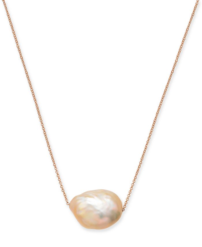 """Macy's - Cultured Pink Baroque Pearl (12-14mm) 18"""" Pendant Necklace in 14k Rose Gold"""