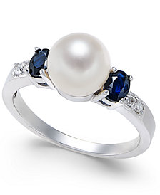 Cultured Freshwater Pearl (7mm), Sapphire (5/8 ct. t.w.) & Diamond Accent Ring in 14k White Gold