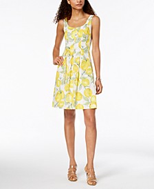 Cotton Fruit-Print A-Line Dress