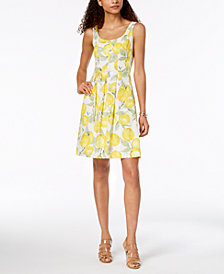 Pappagallo Cotton Fruit-Print A-Line Dress