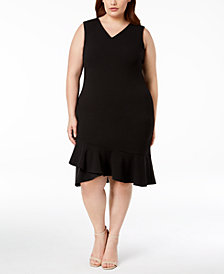 Calvin Klein Plus Size Ruffle-Hem Sheath Dress